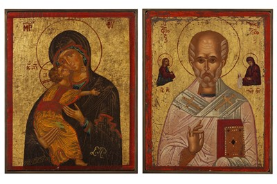 Lot 82 - A PAIR OF GREEK SCHOOL 20TH CENTURY ICONS