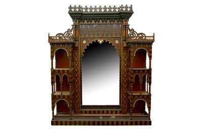 Lot 636 - λ AN IMPRESSIVE MOTHER-OF-PEARL AND BONE-INLAID ORIENTALIST MASHRABIYA-STYLE WALL PANEL WITH MIRROR