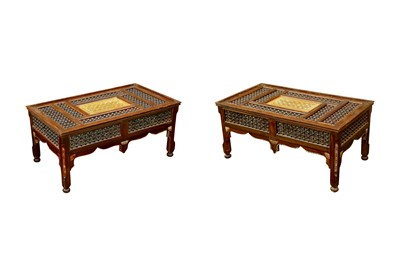 Lot 638 - λ A PAIR OF MOTHER-OF-PEARL AND BONE-INLAID ORIENTALIST MASHRABIYA-STYLE LOW TABLES