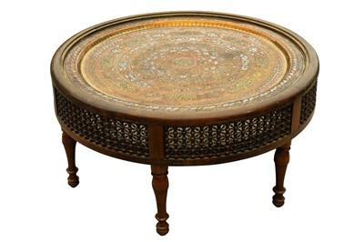 Lot 629 - A CIRCULAR ORIENTALIST MASHRABIYA-STYLE OCCASIONAL TABLE