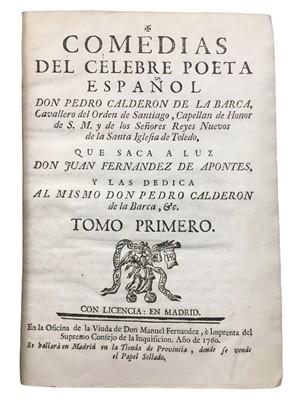 Lot 506 - Calderón de la Barca: Comedias del Celebre Poeta Espanol...