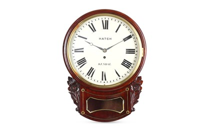 Lot 38-A SECOND QUARTER 19TH CENTURY MAHOGANY AND BRASS INLAID DROP DIAL FUSEE WALL CLOCK