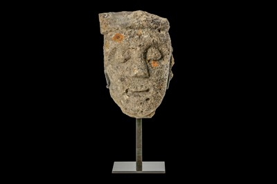 Lot 3 - A 13TH CENTURY GOTHIC CARVED LIMESTONE HEAD an...