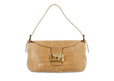 Lot 181 - Fendi Caramel Crocodile Baguette Bag, bead and...