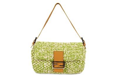 Lot 348 - Fendi Green Raffia Classic Baguette Bag,...
