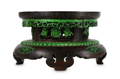 Lot 365 - A CHINESE SILVER-INLAID BONE-INSET ZITAN STAND.