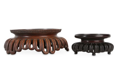 Lot 366 - TWO CHINESE HONGMU AND HARDWOOD STANDS.