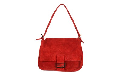 Lot 167 - Fendi Red Suede Mamma Baguette Bag, gilt and...